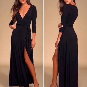 Lulu's Black Garden District Maxi Wrap Dress Small